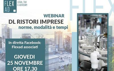 DL Ristori Imprese – norme, modalità e tempi. Webinar on line dello Studio Flexad di Roma