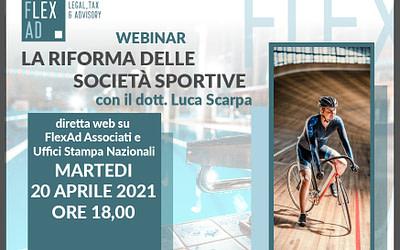 La riforma delle società sportive, web interview con il dott. Luca Scarpa di FlexAd Associati