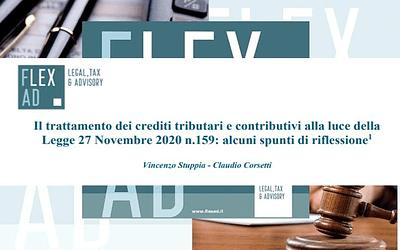 Il trattamento dei crediti tributari e contributivi in relazione alla L. 27 novembre 2020 n. 159